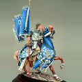 Рыцарь на коне в попоне с флагом. XIII - XIV вв.