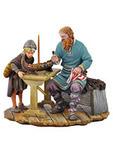 Викинг с ребенком , мастерящие лодочку