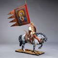 Русский Витязь Пересвет на коне с флагом